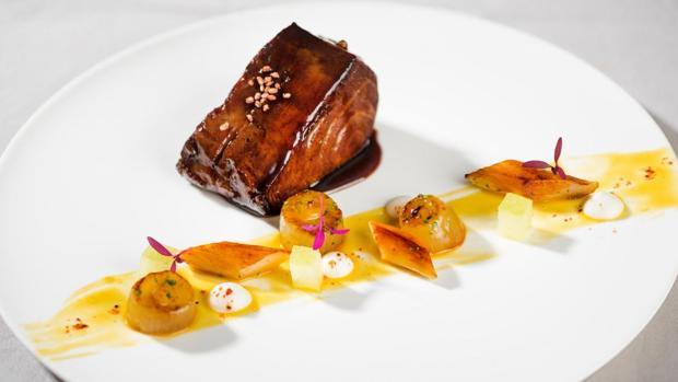 Morrillo de atún rojo, servido en el restaurante La Manzana del hotel Hesperia Madrid