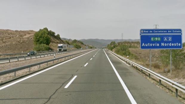Zona de la autovía A-2 en la que se ha producido el accidente mortal