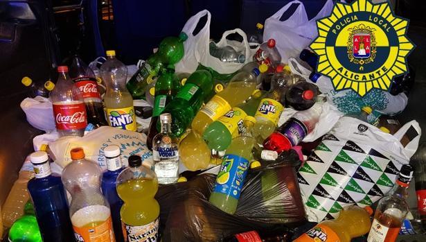 Imagen de parte de las bebidas intervenidas