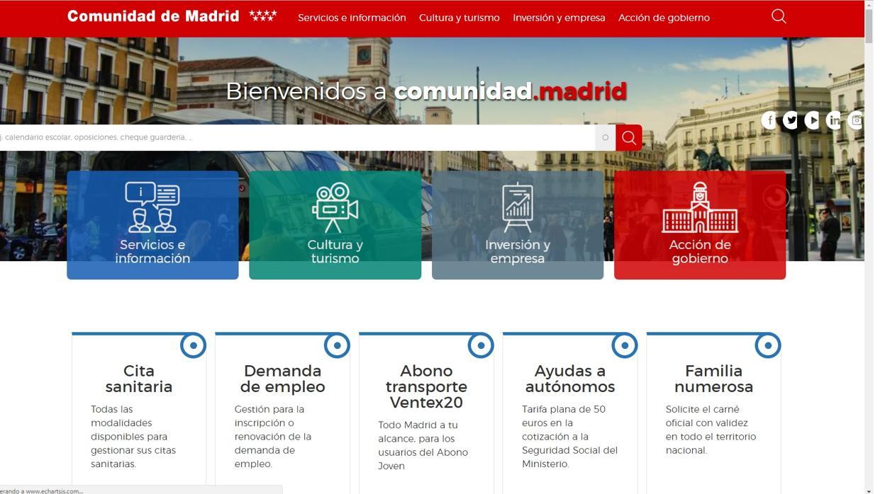 La Comunidad de Madrid cambia hasta la web