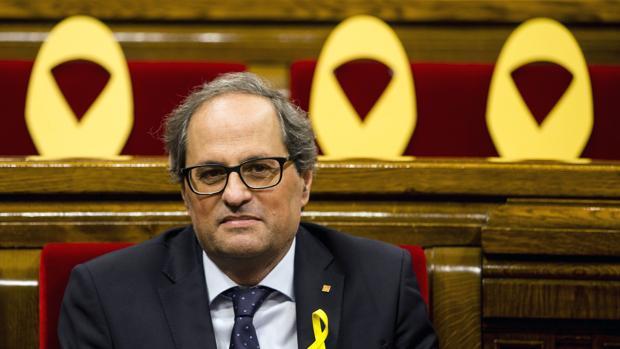 El presidente de la Generalitat Quim Torra ayer en el Parlament