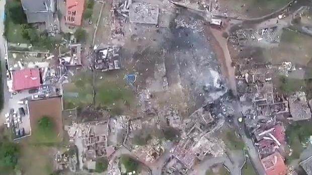 Vista aérea de la zona cero tras la explosión del polvorín ilegal de Paramos en Tui