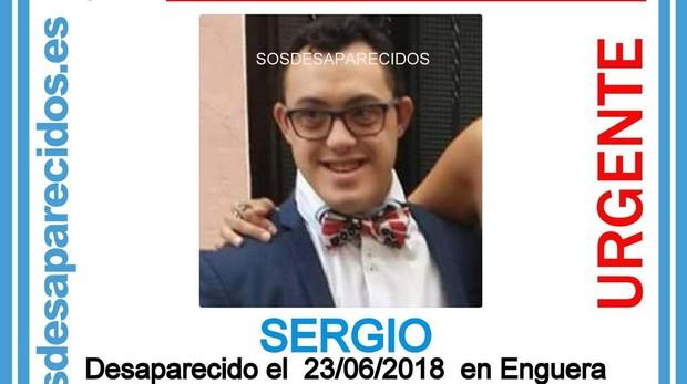 Imagen de Sergio, el joven desaparecido
