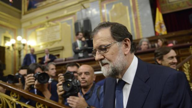 El expresidente del Gobierno, Mariano Rajoy, durante una sesión de control en el Congreso