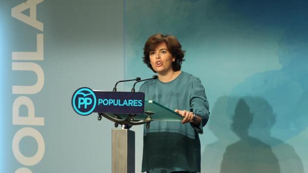 Soraya Sáenz de Santamaría ayer tras los resultados