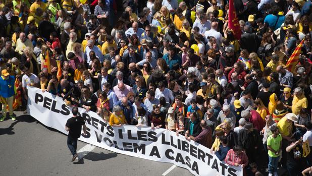 Manifestación para pedir la libertad de los políticos catalanes presos
