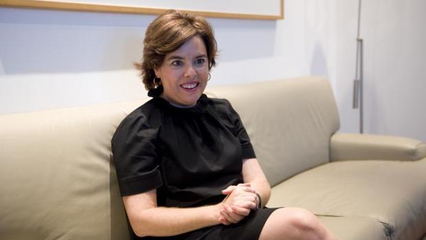 Soraya Saenz de Santamaria durante la entrevista en ABC
