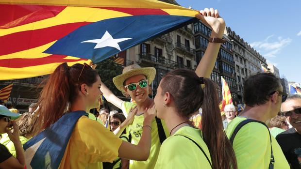 Manifestación independentista en las calles de Barcelona