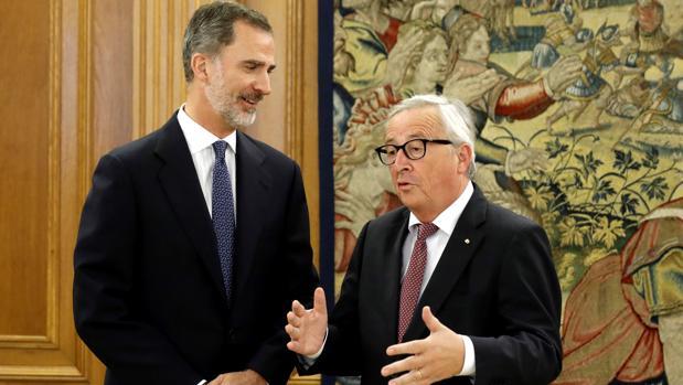 El Rey con Jean-Claude Juncker, este jueves en el Palacio de La Zarzuela