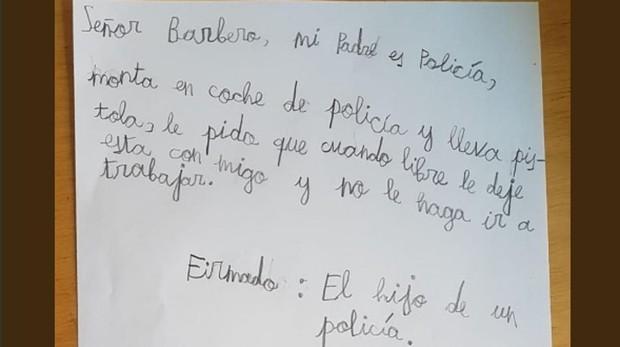 Carta que el hijo de un policía le ha escrito a Javier Barbero