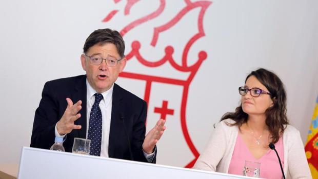 Puig y Oltra, este viernes en la rueda de prensa de balance de sus tres años al frente del Consell