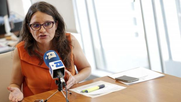 Mónica Oltra, durante la entrevista