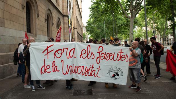 Boicot a un acto de SCC en la Universidad de Barcelona el pasado mes de junio