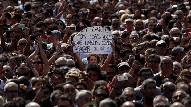 Manifestación en contra del terrorismo