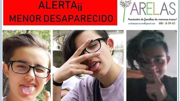 Cartel difundido por la Asociación de Familias de Menores Trans para apoyar la búsqueda