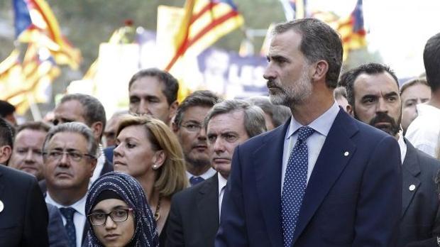 El Rey Don Felipe en un acto de homenaje tras los atentados del año pasado en Barcelona