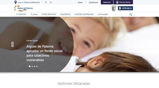 Imagen del portal oficial de Aigües de Paterna