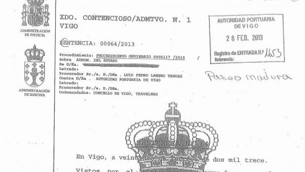 Encabezamiento de la sentencia dictada en 2013 contra el Concello de Vigo