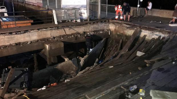 Estado del muelle desplomado el pasado domingo, en Vigo