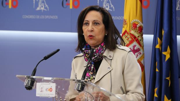La ministra de Defensa, Margarita Robles, durante una comparecencia en el Congreso