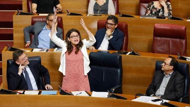 Oltra durante una intervención reciente en las Cortes Valencianas