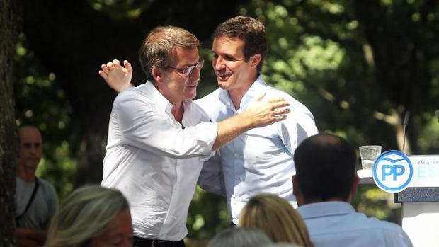 Núñez Feijóo y Casado, durante el acto celebrado en Cerdedo-Cotobade