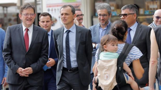 Imagen de Ximo Puig y el ministro Pedro Duque tomada este lunes en Valencia