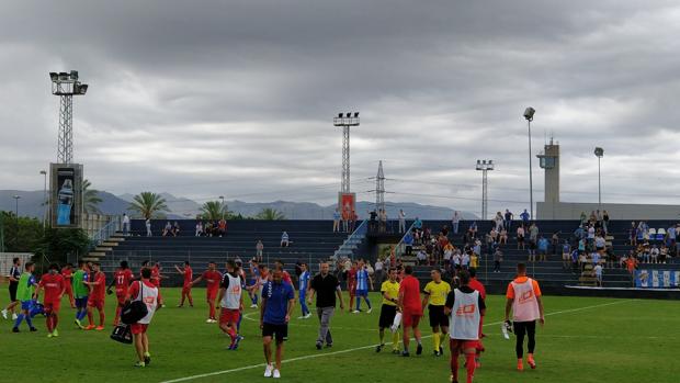 Final del encuentro entre el CF Talavera y el Atlético Malagueño