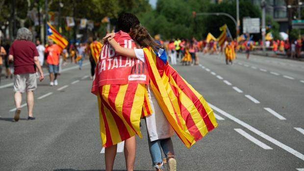 Manifestantes en la «Diada» de este año