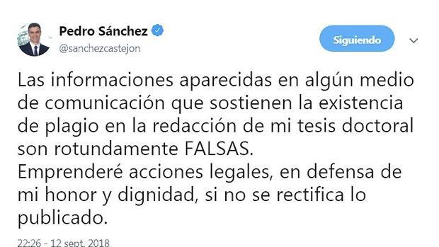Pedro Sánchez asegura que la información de ABC es falsa y que emprenderá medidas legales