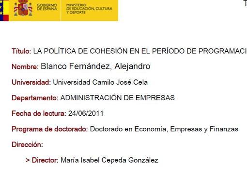Blanco se había doctorado en 2011 con la misma directora quie Sánchez
