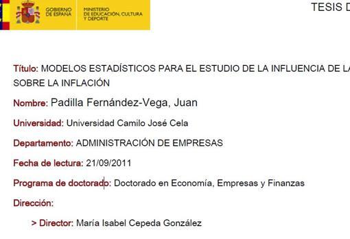 Ficha de Teso de Juan Padilla, con la misma directora de tesis de Sánchez y doctor con un solo año de experiencia