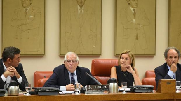 El ministro asuntos exteriores, Josep Borrell, este jueves en el Congreso