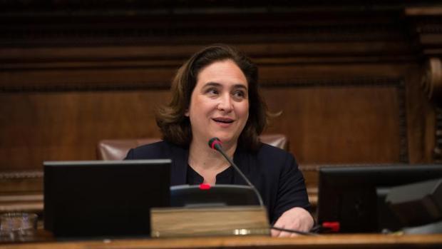 La alcaldesa, en el Ayuntamiento de Barcelona