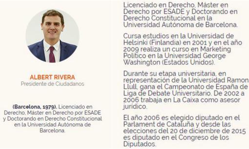 Curículum de Rivera en la web de Cs