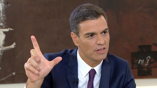 Pedro Sánchez ayer, durante su entrevista en La Sexta