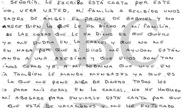 Ana Julia al juez en una carta: «Que Ángel deje a mi familia tranquila»