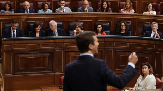 Pablo Casado, durante la sesión de control al Gobierno