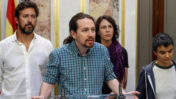 El secretario general de Podemos, Pablo Iglesias, este jueves en el Congreso de los Diputados