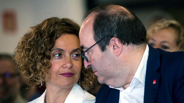La ministra de Política Territorial, Meritxell Batet, y el secretario general del PSC, Miquel Iceta, en junio