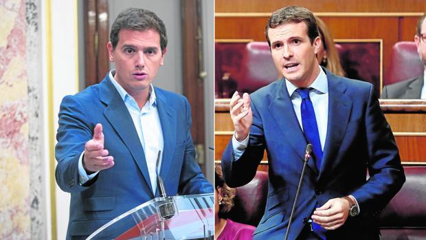 De izquierda a derecha, el líder de Cs, Albert Rivera en rueda de prensa en el Congreso, y el presidente del PP, Pablo Casado, este miércoles en la sesión de control al Gobierno