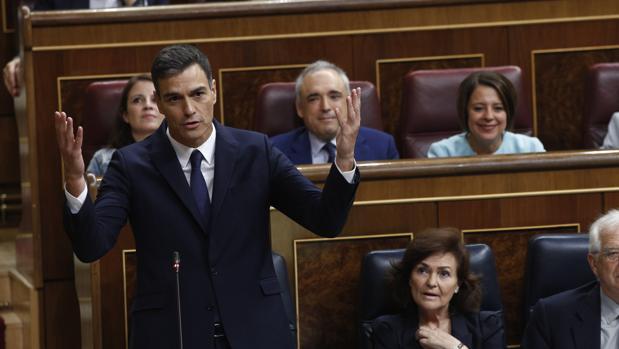 El presidente del Gobierno, Pedro Sánchez, durante la sesión de control al Ejecutivo