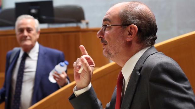 Javier Lambán, en las Cortes de Aragón, durante el Debate sobre el estado de la Comunidad