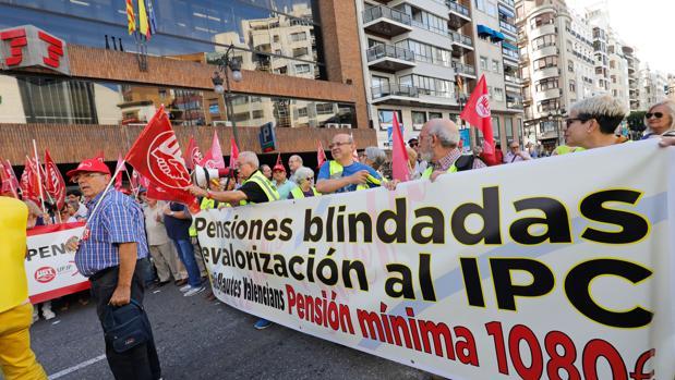 La concentración de jubilados en Valencia, este lunes