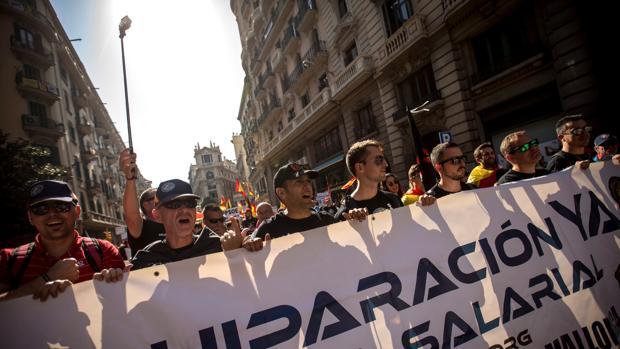 Manifestantes de Jusapol en Barcelona este fin de semana