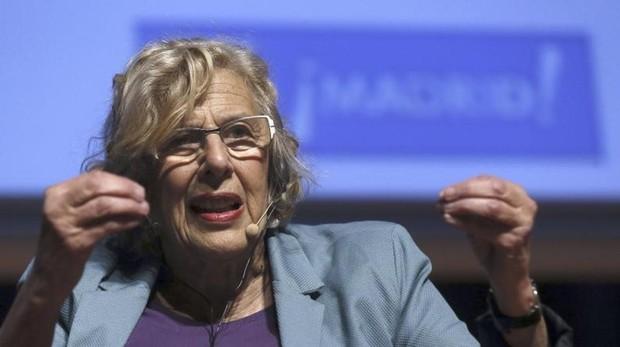 Carmena,durante su intervención en la inauguración de Ciudades Democráticas, en 2016