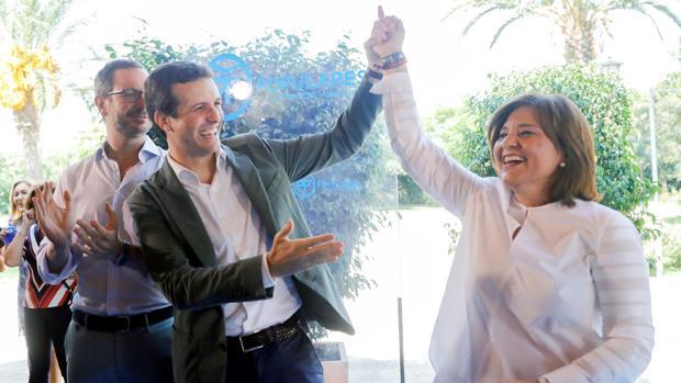 Pablo Casado, Javier Maroto en Isabel Bonig, durante el acto de inicio de curso político en Valencia