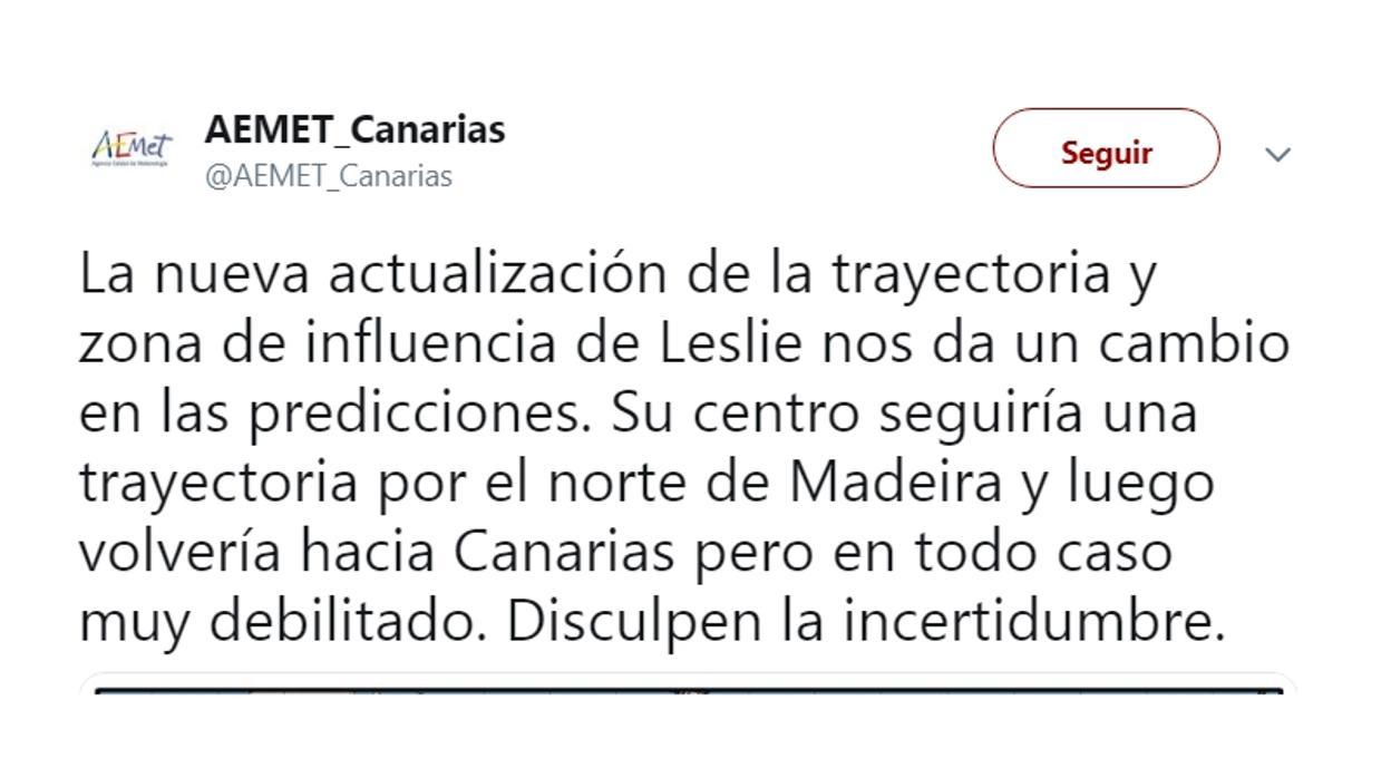 Twitter apoya la humildad de Aemet en Canarias por sus dudas sobre el avance del huracán Leslie