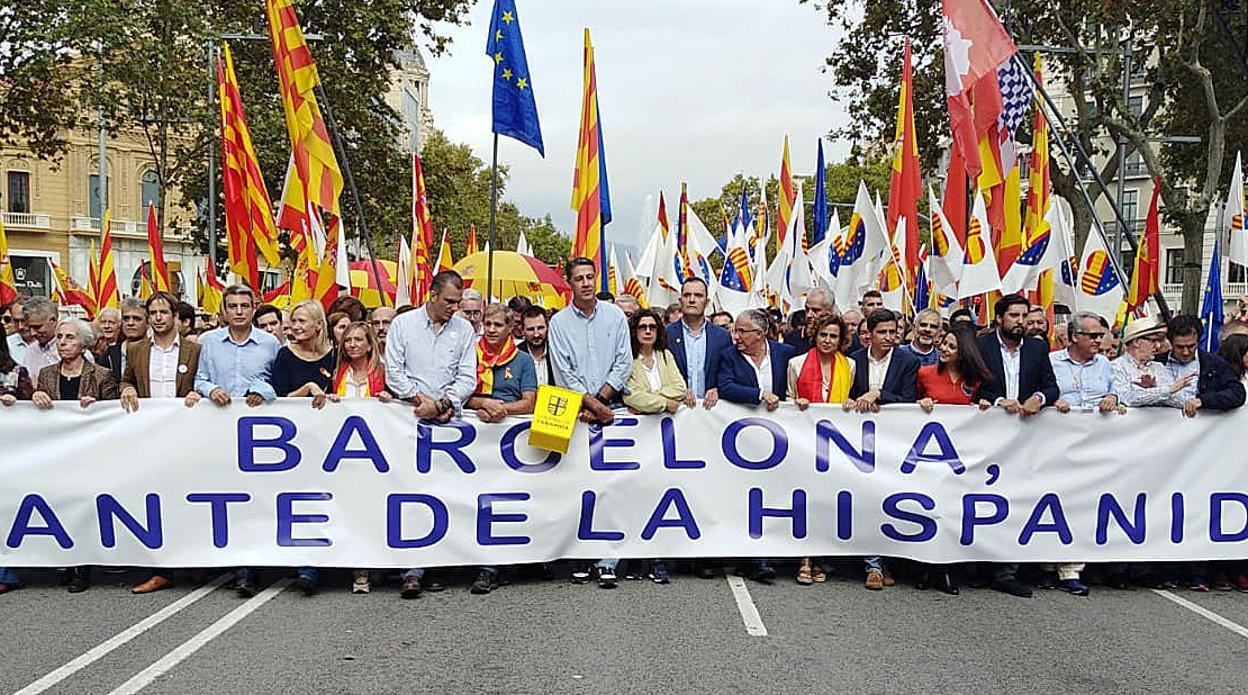 «Salvar el archivo de Salamanca», en la cabeza de la manifestación por la unidad de España de Barcelona