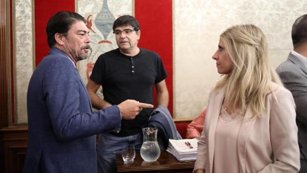 El alcalde y los portavoces del PSOE (Eva Montesinos) y Miguel Ángel Pavón (Guanyar) en el pleno del Ayuntamiento de Alicante